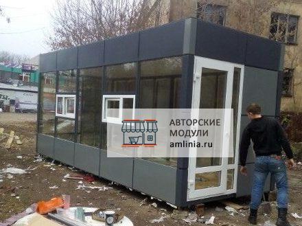 Павильон для торговли со входом серо-графитовый, размер 6,0 х 2,5 х 2,87 метра