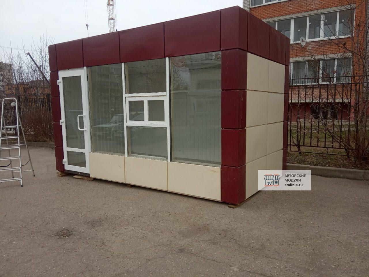 Универсальный павильон торговый с входом, размеры 4,5 х 2,5 х 2,87 метра (со входом или с окном выдачи)