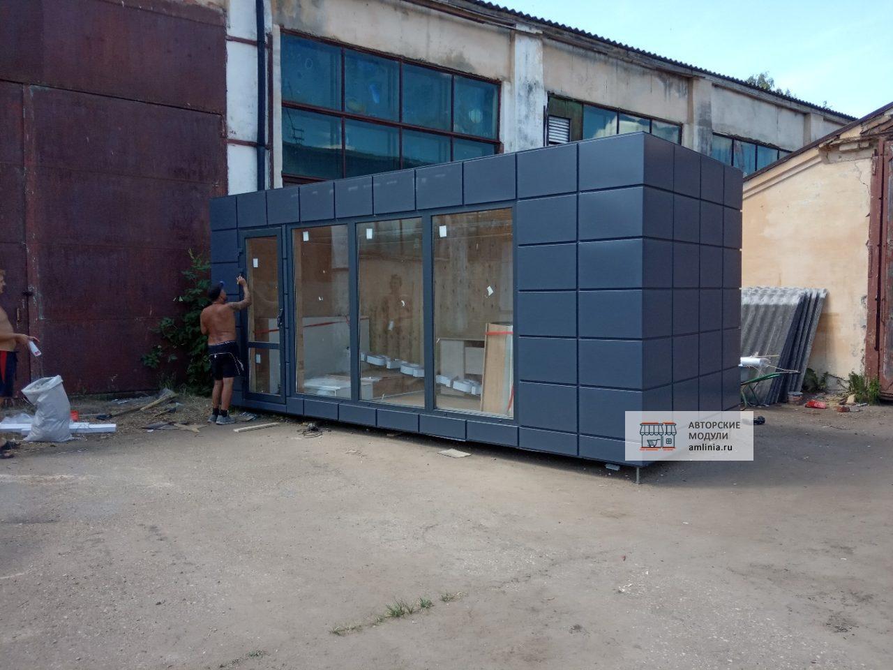 Павильон для торговли со входом графитовый, размер 6,0 х 2,5 х 2,87 метра
